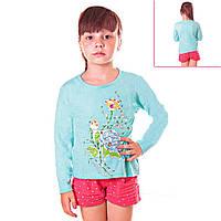 Кофта детская для девочек с длинным рукавом Букет Цветов с пайетками, цвет голубой