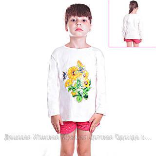 Кофта детская для девочек с длинным рукавом Бабочка на подсолнухе с пайетками , цвет белый