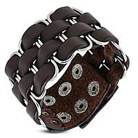 Кожаный браслет коричневого цвета , фото 1