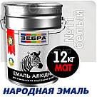 Зебра Краска-Эмаль ПФ-116 Белая Мат №11 0,9кг, фото 3