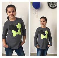 Прикольная детская туника из ангоры, аппликация Микки Маус, рост 122,128,134,140 см