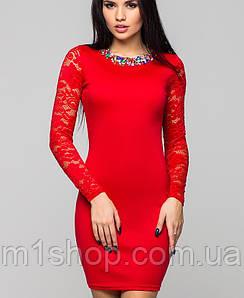 Платье с гипюровыми рукавами   Лиа leo