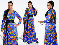 Очаровательное длинное синее платье с поясом. 5 цветов. р-ры от 48 до 54.
