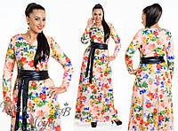 Очаровательное длинное платье с поясом. 5 цветов. р-ры от 48 до 54.