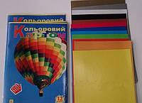 """Картон цветной А4, 12 цветов, цветная обложка """"Коленкор"""""""