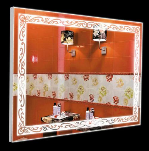 Зеркало в алюминиевой рамке 60 х 80 с лэд