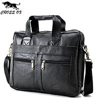Деловой мужской кожаный портфель Cross Ox для ноутбука, планшета, документов из натуральной кожи