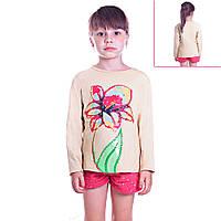 Кофта детская для девочек с длинным рукавом Летний Цветок с пайетками , цвет бежевый