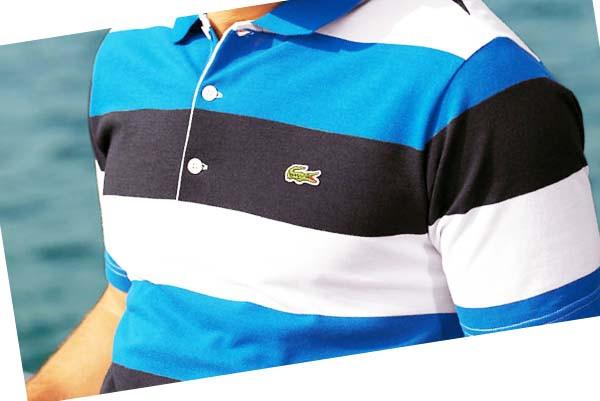 Мужская футболка поло от ЛаКоста полосатая