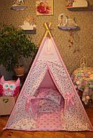 """Детский игровой домик, вигвам, палатка, шатер, шалаш """"Розовые розы"""""""