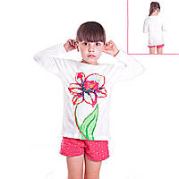 Кофта детская для девочек с длинным рукавом Летний Цветок с пайетками , цвет белый