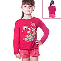 Кофта детская для девочек с длинным рукавом Танец Бабочек в саду с пайетками , цвет красный