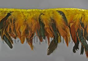 Перо-спідниця жовта з чорними хвостиками 15-20см/45-47см