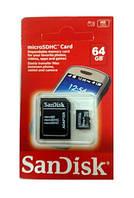 Sandisk + adpater 64Gb Карта памяти SANDISK MicroSDHC Card 64 GB  и адаптер карты памяти