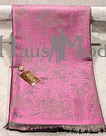 Палантин брендовый  Cucci 9666 Розовый+ серый