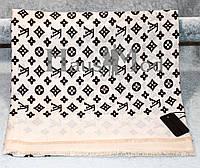Палантин брендовый  Louis Vuitton LV  белый с черным