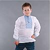 Вышиванка на мальчика с голубым орнаментом домотканное полотно, фото 3