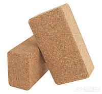 Блок для йоги пробковый LiveUp Yoga Brick, бежевый