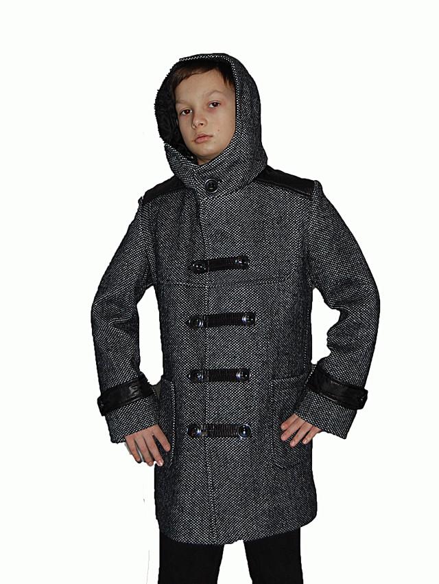 Утепленное шерстяное пальто для мальчика