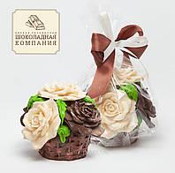 Шоколадный букет. Шоколадная корзина с розами. Шоколадные подарки девушкам
