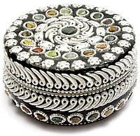 Шкатулка с камнями (круглая, метал), фото 1