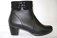Ботинки кожаные, короткие на среднем каблуке., фото 1