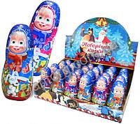 Шоколадная фигурка Маша и Медведь новогодняя 30 гр с сюрпризом