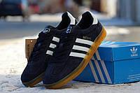 Мужские кроссовки Adidas Gazelle Indoor темно синие /  кроссовки  мужские Адидас Газел Индор