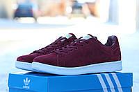 Мужские кроссовки Adidas Stan Smith /  кроссовки  мужские Адидас Стен Смит, демисезон, бордовые, стильные