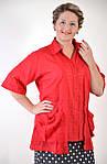 Блуза женская  хлопок, ботал, 48,50,52,54, короткий рукав, ( БЛ 034) ., фото 3