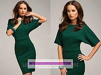 Платье трикотажное зеленого цвета на каждый день