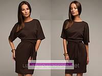 Платье трикотажное коричневого  цвета на каждый день