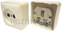 Розетка одинарная квадратная открытой проводки белая Харьков (N37) 10А 250В