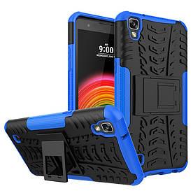 Чехол накладка для LG X Power K220DS противоударный с подставкой, Синий
