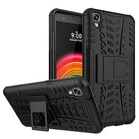 Чехол накладка для LG X Power K220DS противоударный с подставкой, Черный