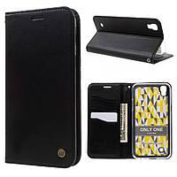 Чехол книжка для LG X Power K220DS боковой с отсеком для визиток, ROAR KOREA ONLY ONE, Черный