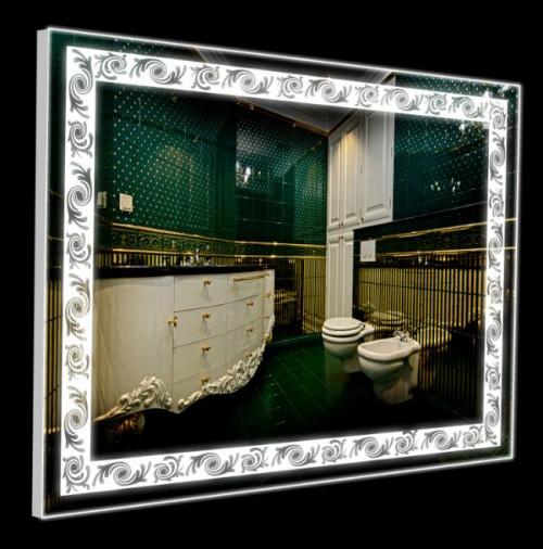 Зеркало в ванную с узором 60 80 светодиодное