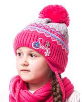 Детская шапка на флисе с бумбоном розовая