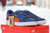 Мужские кроссовки Puma Suede /  кроссовки мужские Пума Свейд, темно-синие с рижым, высокое качество