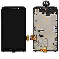 Дисплейный модуль (дисплей + сенсор) для Blackberry Z30 (3G), с рамкой, черный, оригинал
