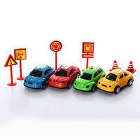 Набор машинок, 6,5см с дорожными знаками, 1C83-99-28