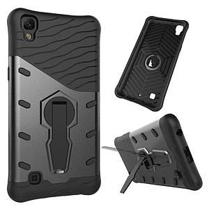 Чехол накладка для LG X Power K220DS противоударный силикон и пластик с подставкой, Серый