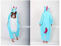 Пижама-кигуруми единорог голубая