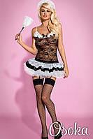 Эротический костюм горничной Obsessive Housemaid Черно-белый