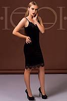 Платье женское из велюра с кружевом