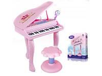 Детский розовый синтезатор со стульчиком и микрафоном