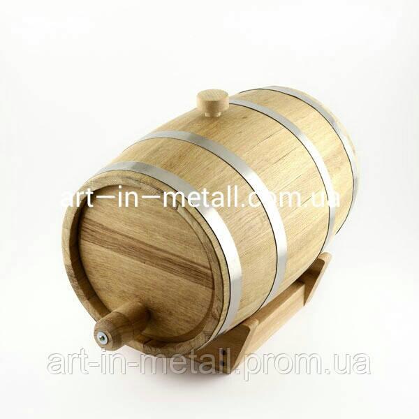 Дубовая бочка для вина и коньяка 20 л с краном (нержавейка)