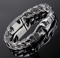 """Браслет """"Лотос"""" с боковым узором из ювелирной стали. Ширина 11/15мм. Аналог серебра. Не чернеет."""