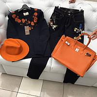 Женские джинсы Dolce&Gabbana прямые с вышивкой темно-синие