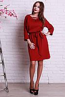 Бордовое платье свободного фасона